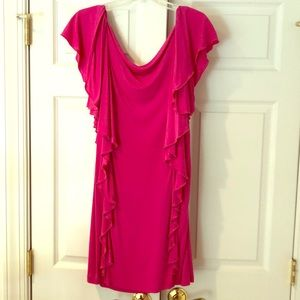 DVF Hazelle dress, size 2 pink w/ black belt